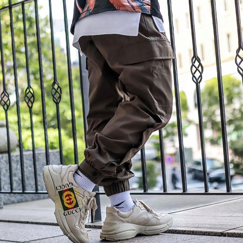サイドスナップナイロンカーゴジョガーパンツの画像