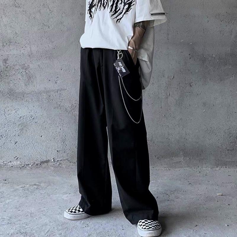 【モードストリート】ブラックワイドスラックスパンツ画像1