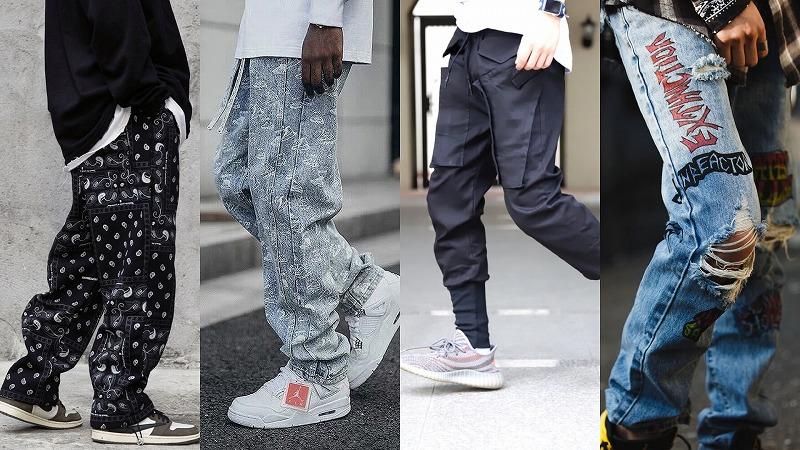 春のメンズストリート系太めのパンツと細身のパンツの画像